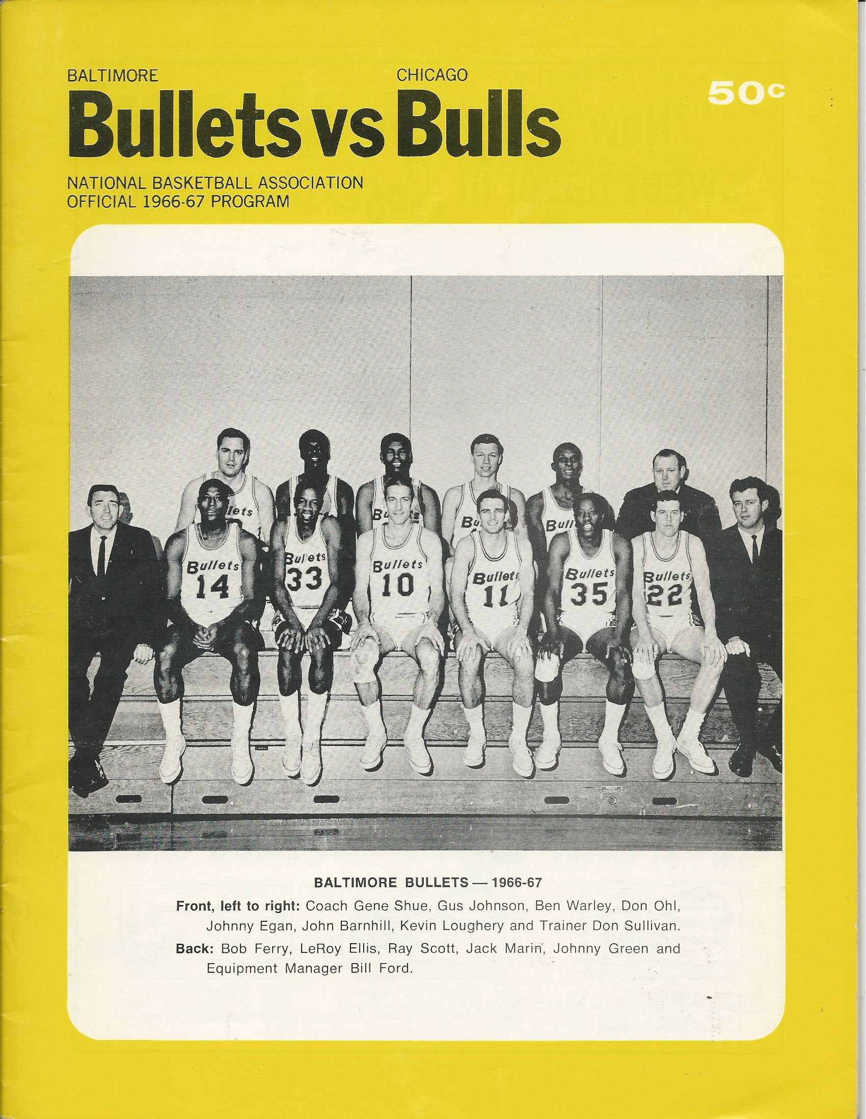 Lot Detail 1966 67 Baltimore Bullets NBA Program vs Bulls