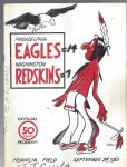 1961 Philadelphia Eagles (NFL) vs Washington Redskins Football Program