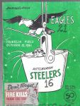 1961 Philadelphia Eagles (NFL) vs Pittsburgh Steelers Football Program