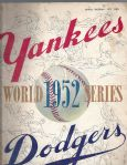 1952 World Series (NY Yankees vs Brooklyn Dodgers) Program at Yankee Stadium
